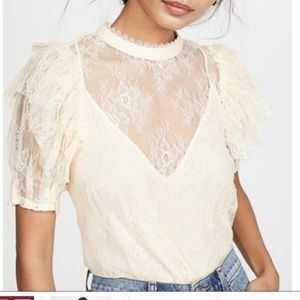 Free people NWT cream lace top